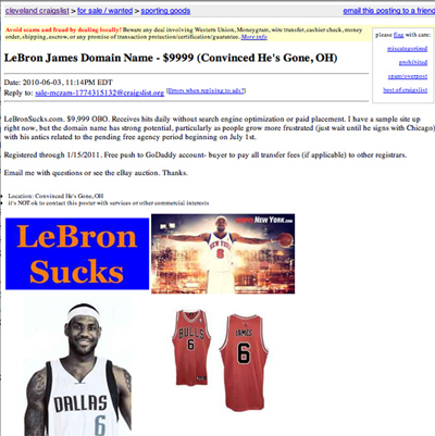 LeBronSucks.com For 10K Anybody???