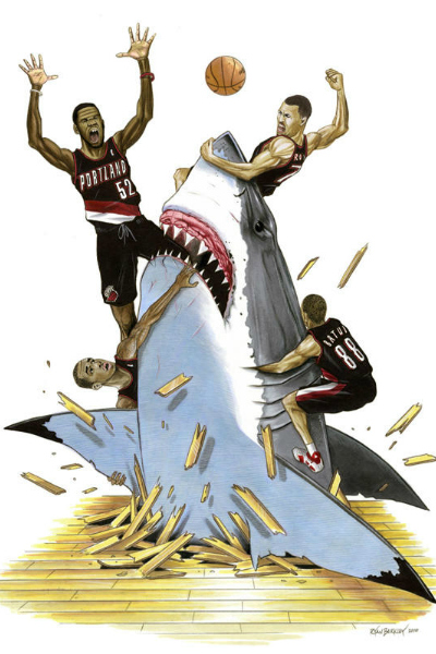 Trail Blazers Shark Art