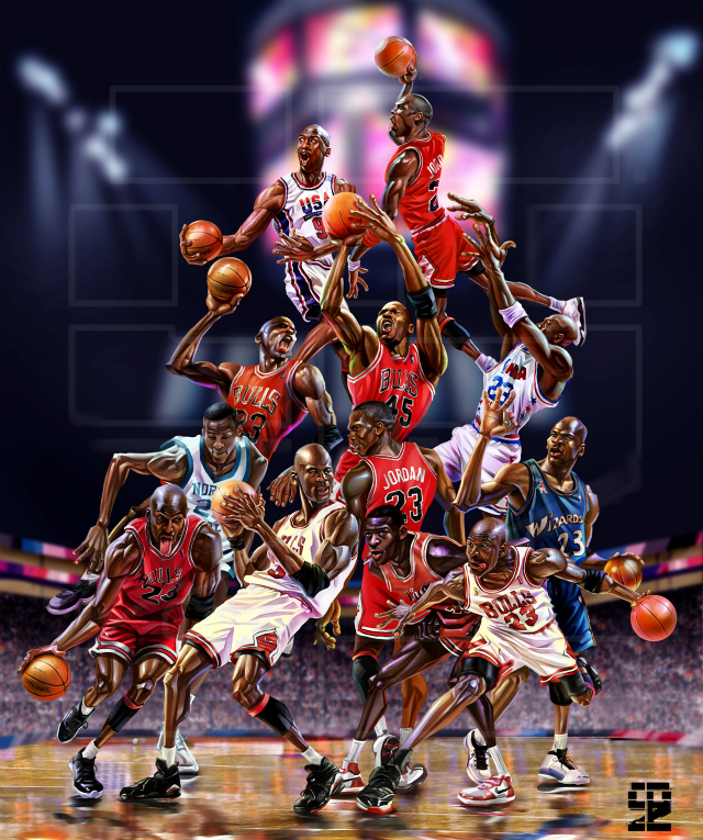 bf02fbe745b Michael Jordan Career Caricature Collage – Hooped Up