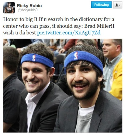Ricky rubio and kevin love honor brad miller hooped up for Ricky rubio tattoo