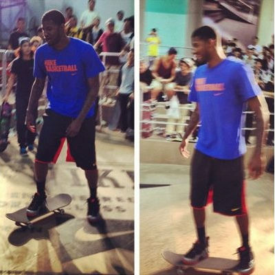 Paul George Skateboarding In Nike Air Foamposites