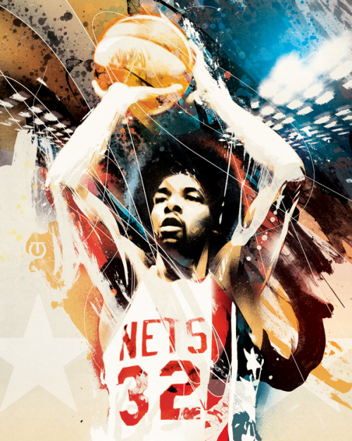 Julius Erving Grafitti Art