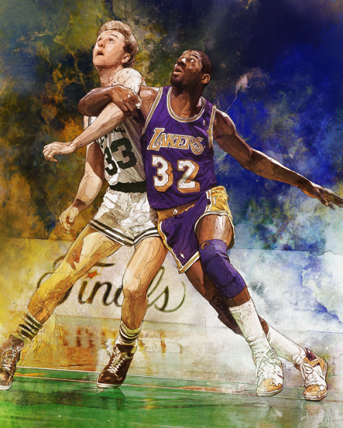 Magic Johnson vs Larry Bird Art