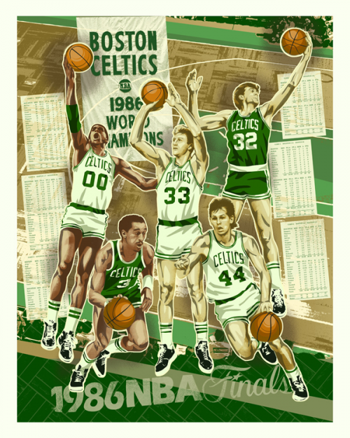 1986 Boston Celtics Championship Art
