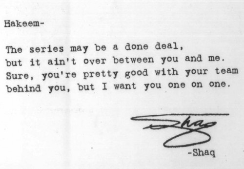 The Time Shaq Challenged Hakeem Via Typewriter