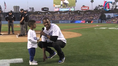 Chris Paul and Son Throw Out First Pitch at LA Dodgers Game