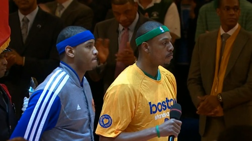 Carmelo Anthony and Paul Pierce Stand As One For Boston