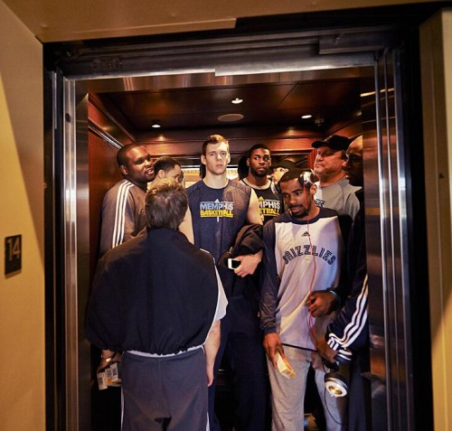 The Memphis Grizzlies on an Elevator