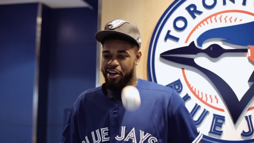 Amir Johnson Throws Out First Pitch at the Blue Jays Game