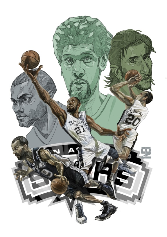 Spurs Big Three Then and Now Art