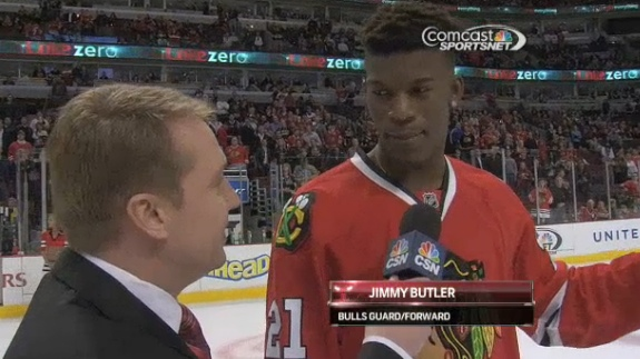 Jimmy Butler Scores In 'Shoot the Puck' Challenge