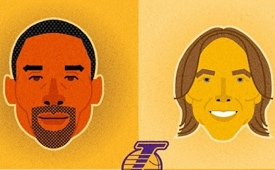 Lakers Big Four Caricature Portrait