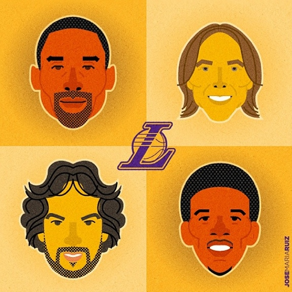 Lakers Big Four Character Portrait