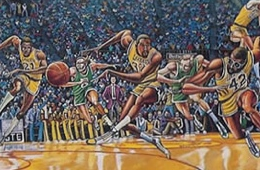 Ernie Barnes Lakers 'Fastbreak' Art