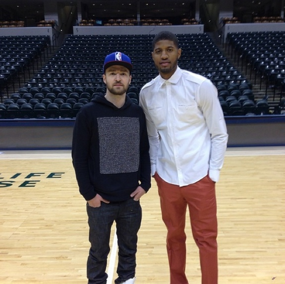 Paul George and Justin Timberlake Shoot Around After the Pacers Game