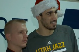 Enes Kanter Plays 'Kanter Klaus' to Kids