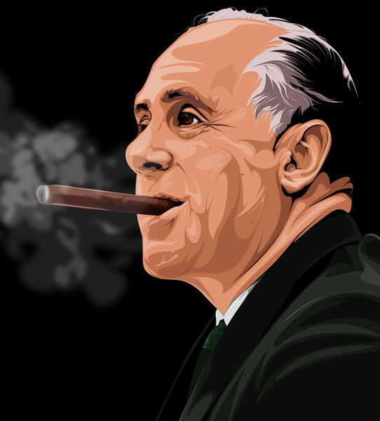Red Auerbach 'Victory' Illustration