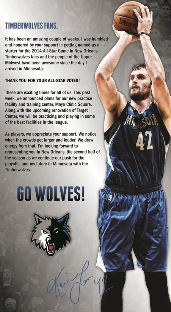 Kevin Love Thanks Fans For All-Star Votes With Full Page Ad