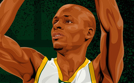 Ray Allen 'Seattle Supersonics' Illustration