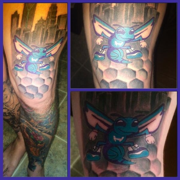 Fan Gets a Gnarly Charlotte Hornets Leg Tattoo
