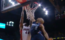 Gerald Henderson Blocks Udonis Haslem at the Rim