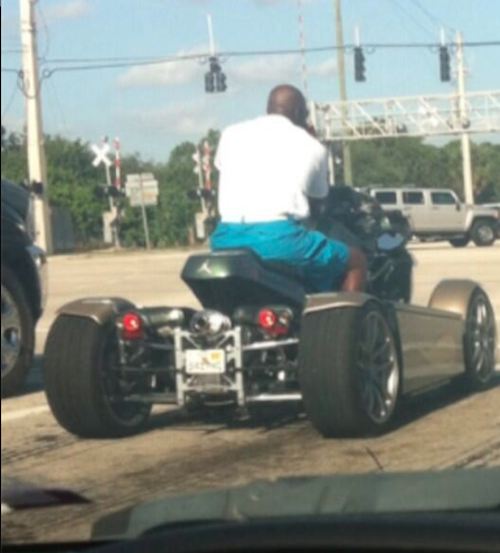 Michael Jordan Riding His T-Rex Motorcycle In Florida