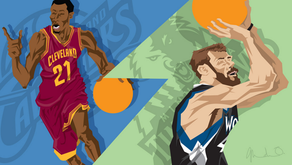 Andrew Wiggins x Kevin Love Trade Caricature Art