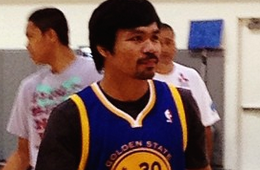 Manny Pacquiao Balls at the Warriors Training Facility
