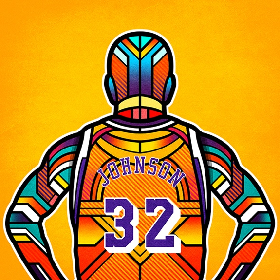 NBA Legends Digital Stained Glass Art