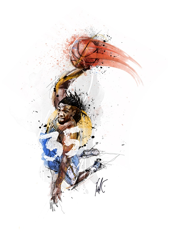 Kenneth Faried 'Blurred Lines' Illustration