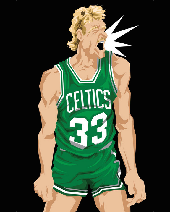 Larry Bird 'Celtic Pride' Caricature Art