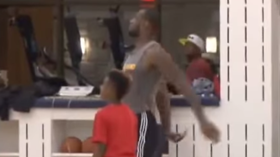 10 Year Old LeBron James Jr. Out Shoots His Dad From Half Court
