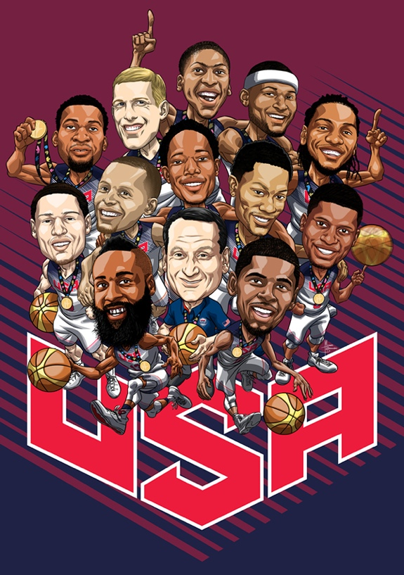 Team USA Basketball Cartoon Art