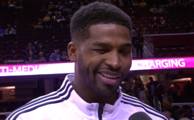 Tristan Thompson Kisses Reporter During Interview