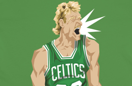 BlockNation Larry Bird 'Celtic Pride' Caricature Tee