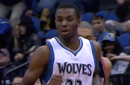 Andrew Wiggins Notches First Double-Double