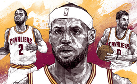 Cleveland Cavaliers 'Big Three' Geometric Sketch