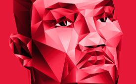 Derrick Rose Red Polygons Graphic