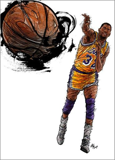 Magic Johnson 'Showtime' Illustration