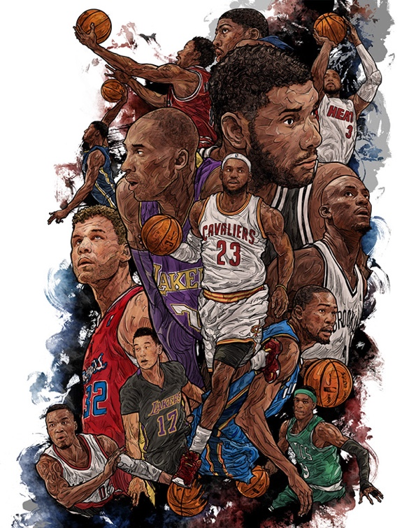 22 NBA Stars Collage Illustration