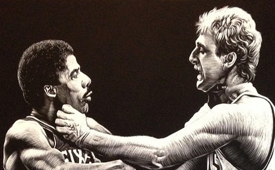Julius Erving vs Larry Bird 'American Primitive' Illustration