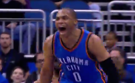 Russell Westbrook Double-Clutch Reverse Smash