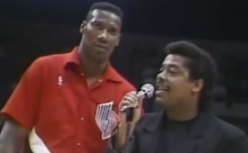 Blazers Replay Jerome Kersey Singing National Anthem Circa '89