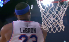 Lebron James With a Killer Reverse Alley-Oop Slam