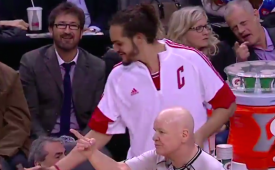 Joakim Noah Tricks DeMar DeRozan From the Bench