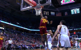 JR Smith and LeBron James Connect On a Monster Alley-oop
