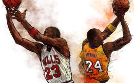 Michael Jordan vs Kobe Bryant Illustration