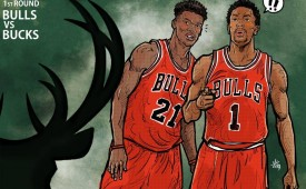 Derrick Rose and Jimmy Butler vs The Deer Illustration