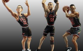 Chicago Bulls 'Bizarro Big Three' Caricature Art