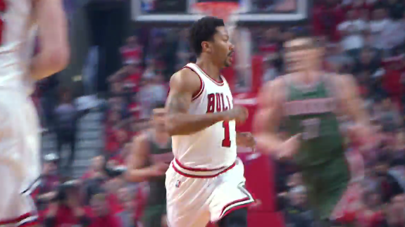 Derrick Rose Gets His First Dunk of the Playoffs